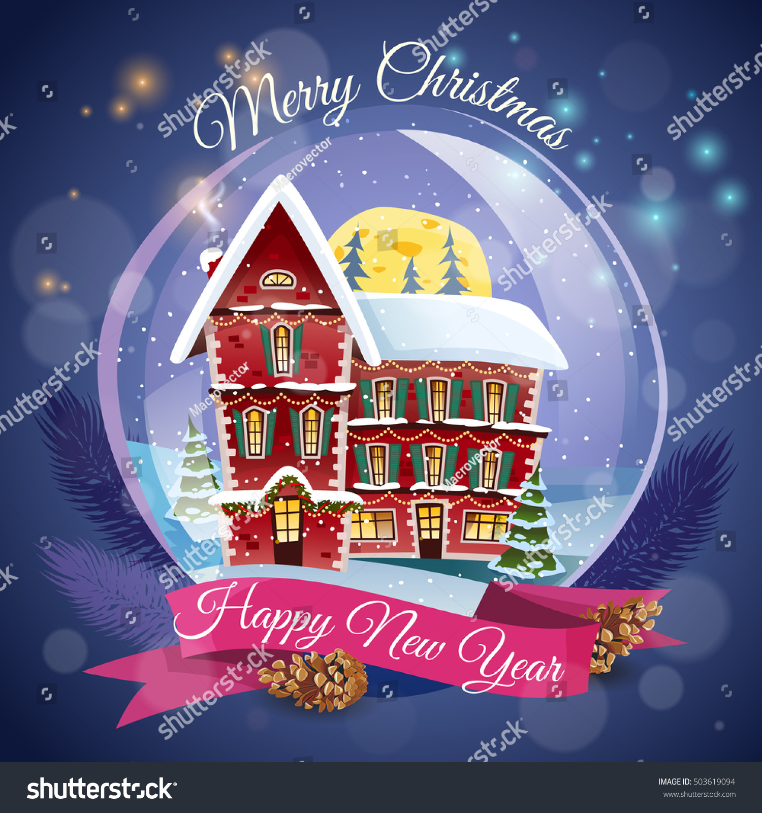 Christmas greeting card magic house night stock vector 503619094 christmas greeting card with magic house at night lights background and happy new year wishing flat kristyandbryce Images