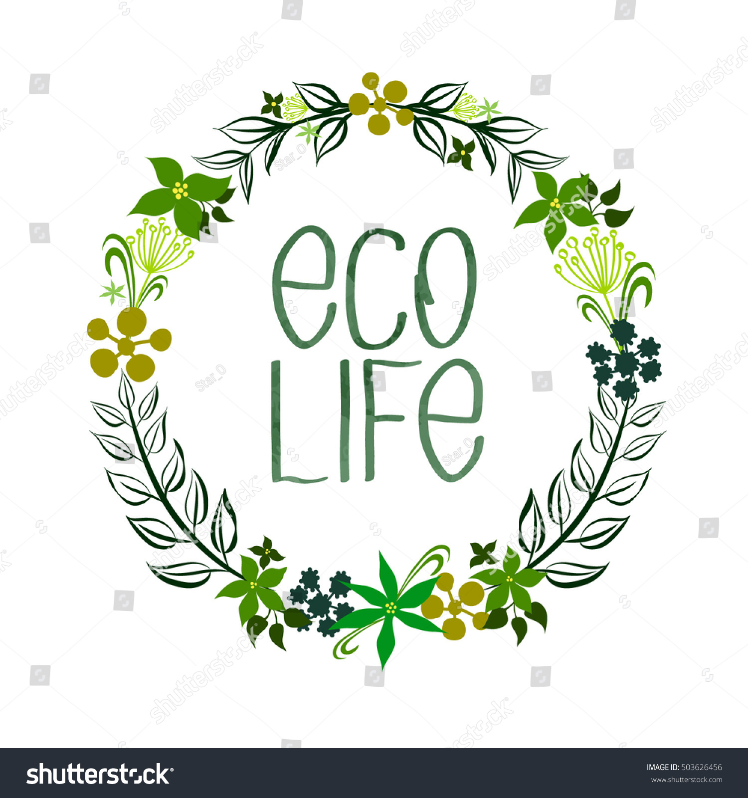 Wreath Leaves Flowers Eco Organic Products Stock Vector Shutterstock