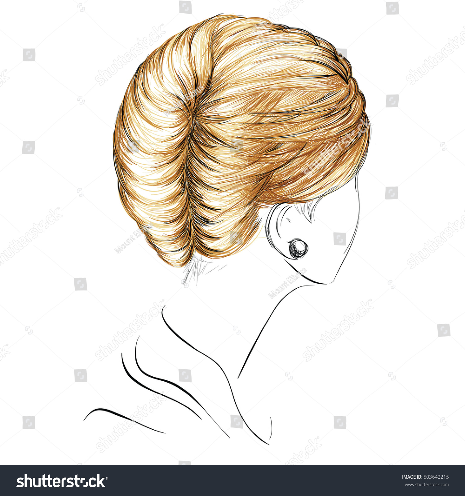 Sketch French Twist Hairstyle Freehand Vector Stock Vector 503642215 ...
