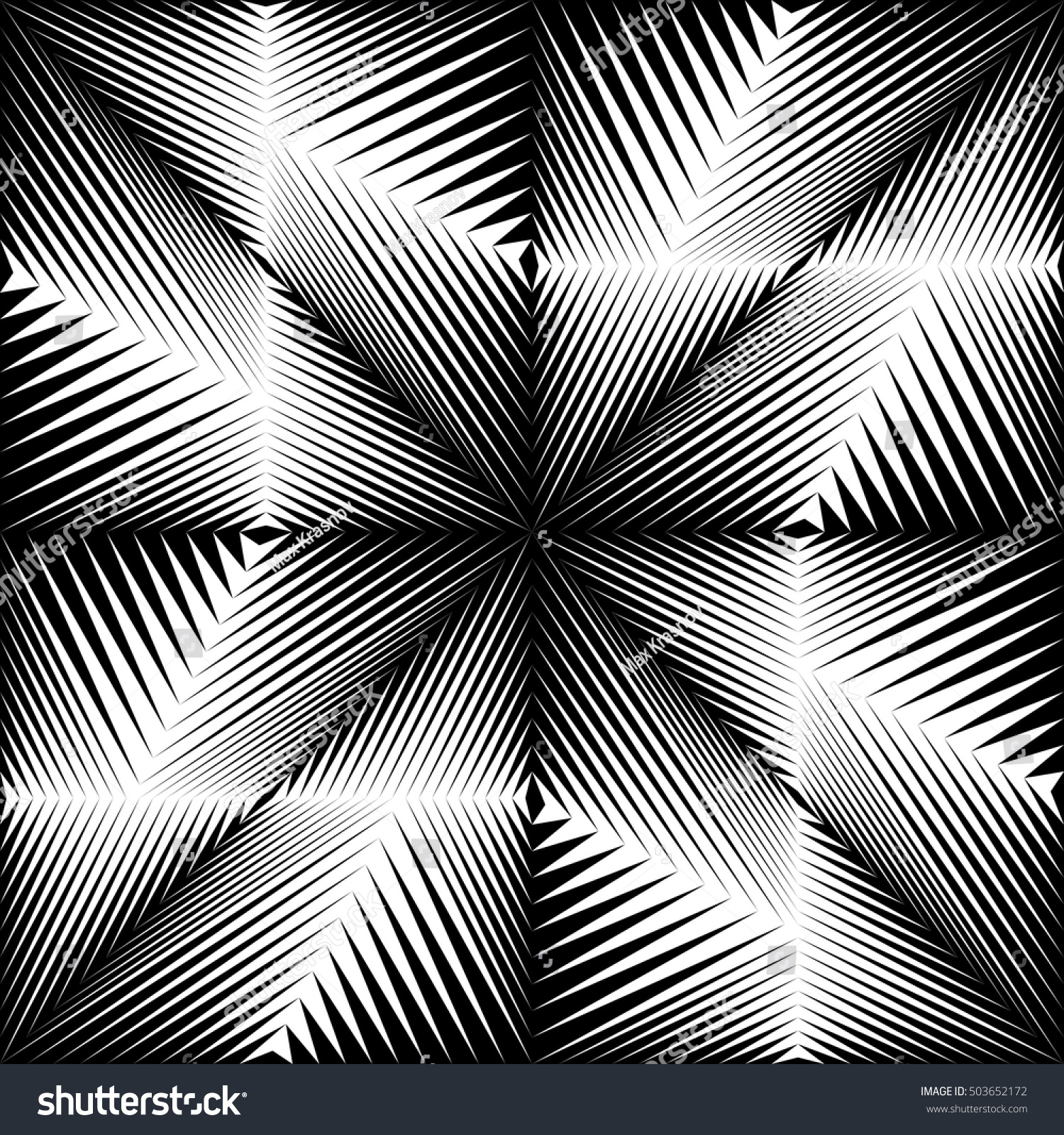 Seamless Crystal Pattern Vector Black White Stock Vector