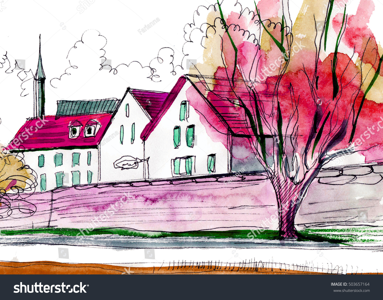 Country landscape. Watercolor painting | EZ Canvas