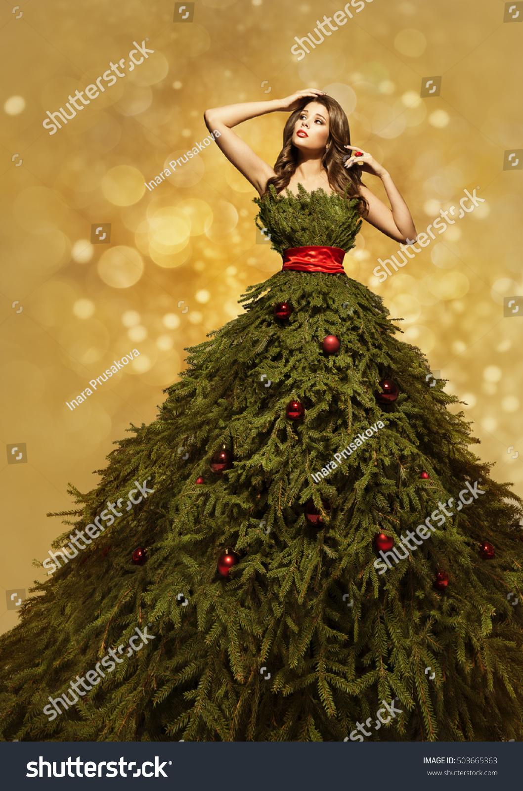 Fashion Model Christmas Tree Dress Woman Stock Photo Edit Now 503665363