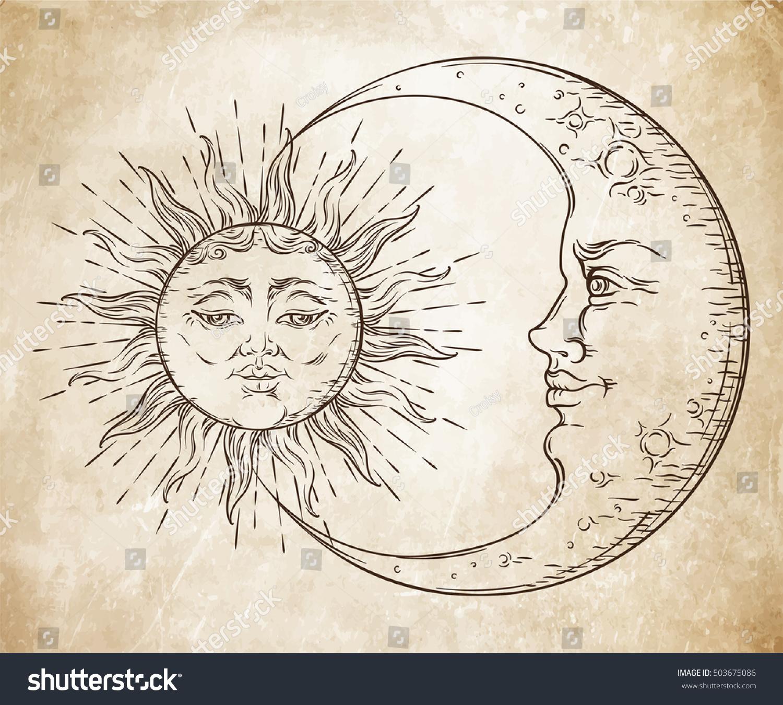 Vintage Sky Sun, Moon Clouds Stars. Stock Illustration ... |Vintage Sun Illustration