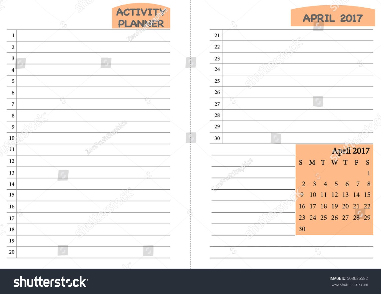 April 2017 Calendar Template Monthly Planner Stock Vector HD ...