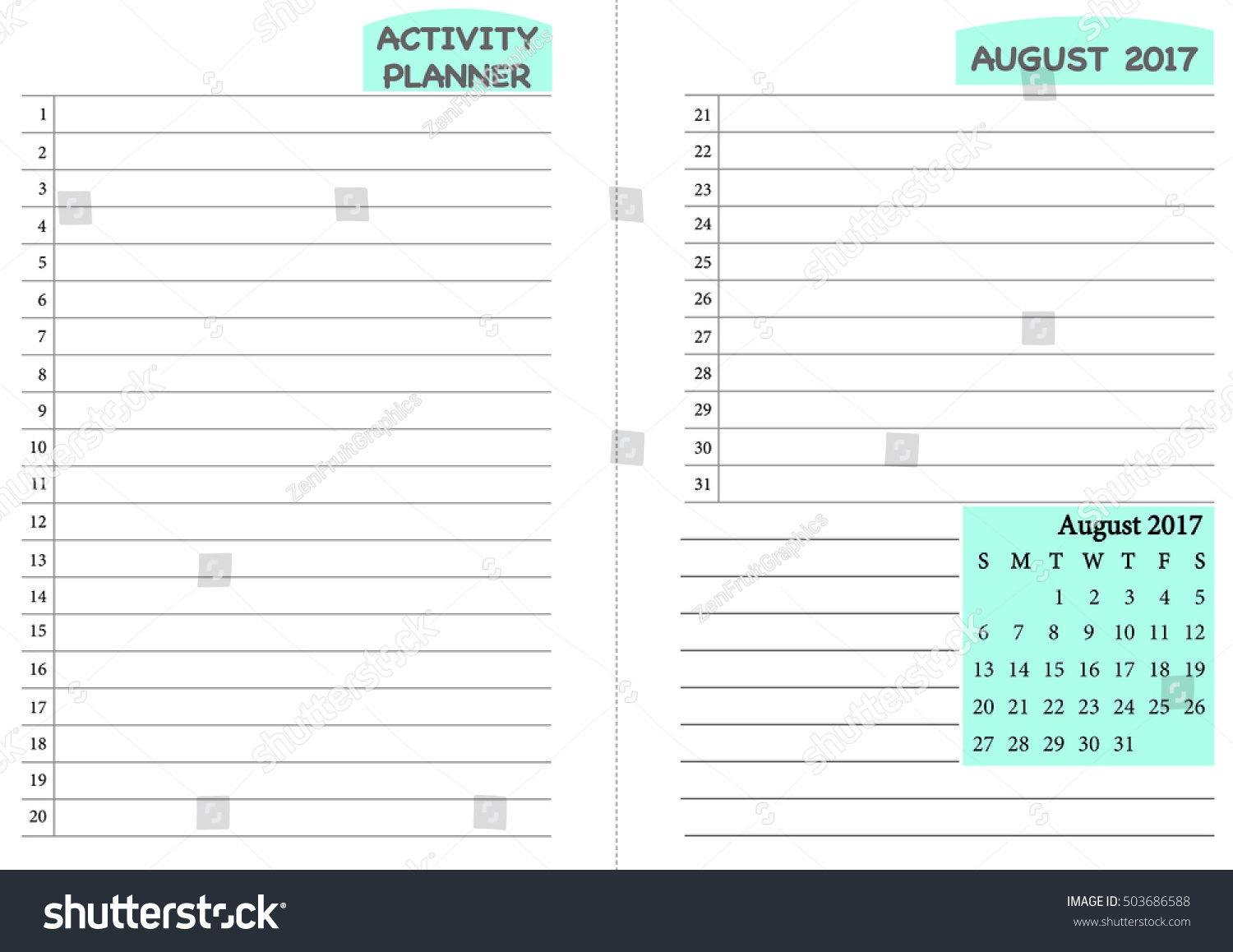 Royalty Free August 2017 Calendar Template Monthly 503686588 Stock