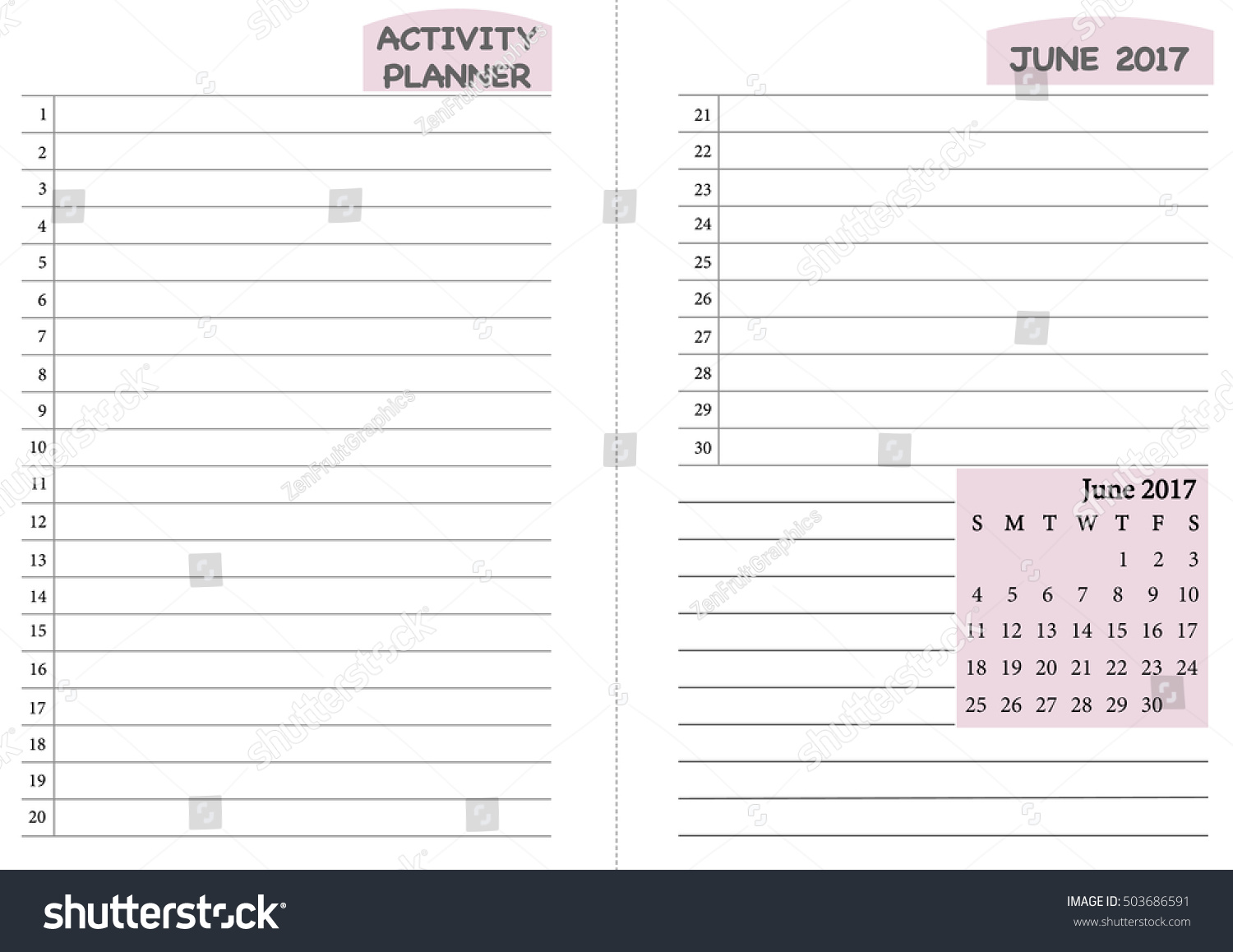 June 2017 Calendar Template Monthly Planner Template With Daily Routine  Check List, Activity Schedule Chart