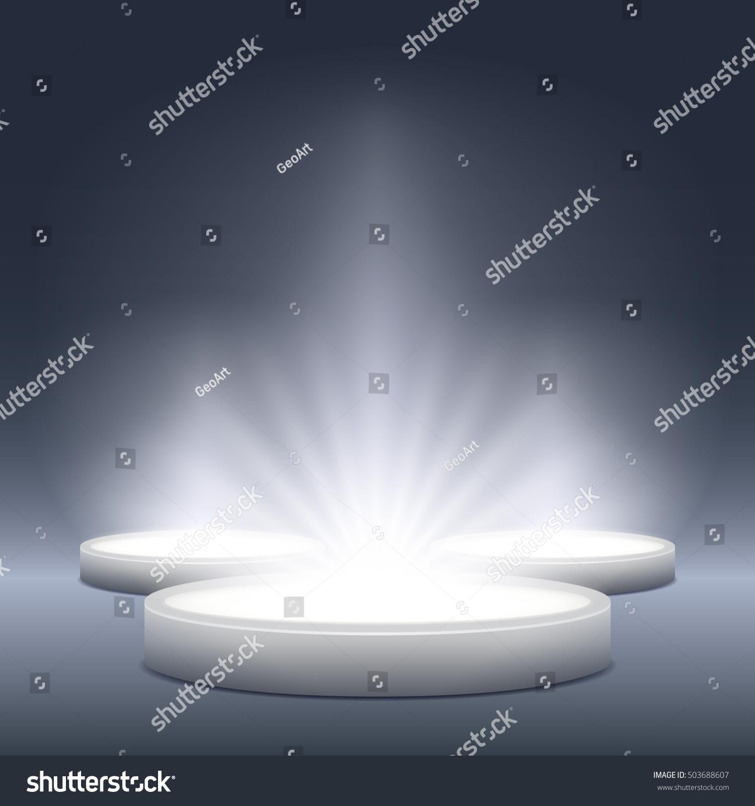 White Studio Background With Podium: Illuminated Light Festive Stage Podium Scene Stock Vector