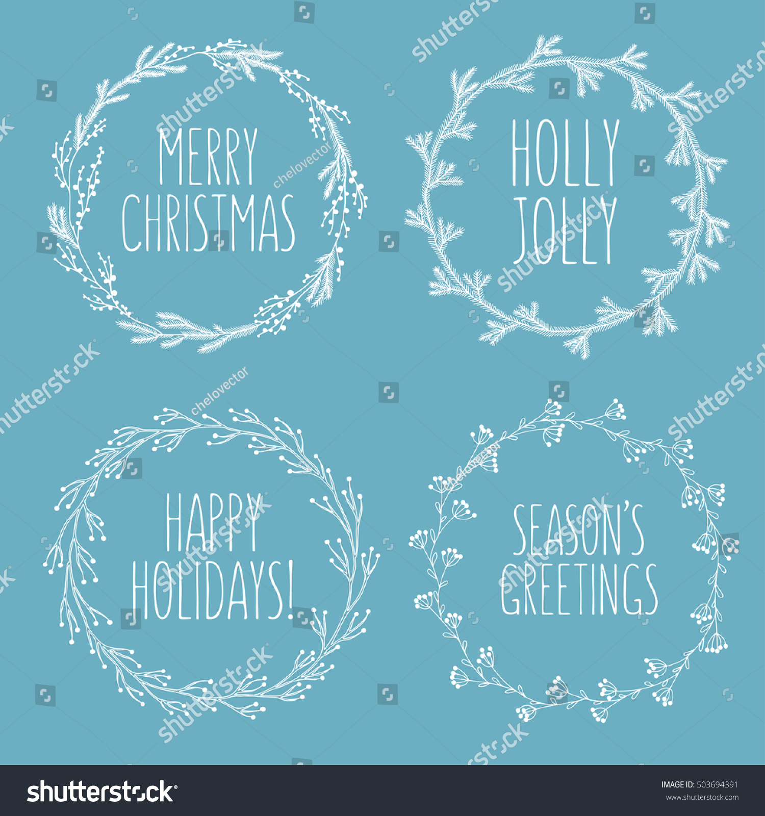 Christmas Related Hand Drawn Floral Wreaths Stock Vector Royalty