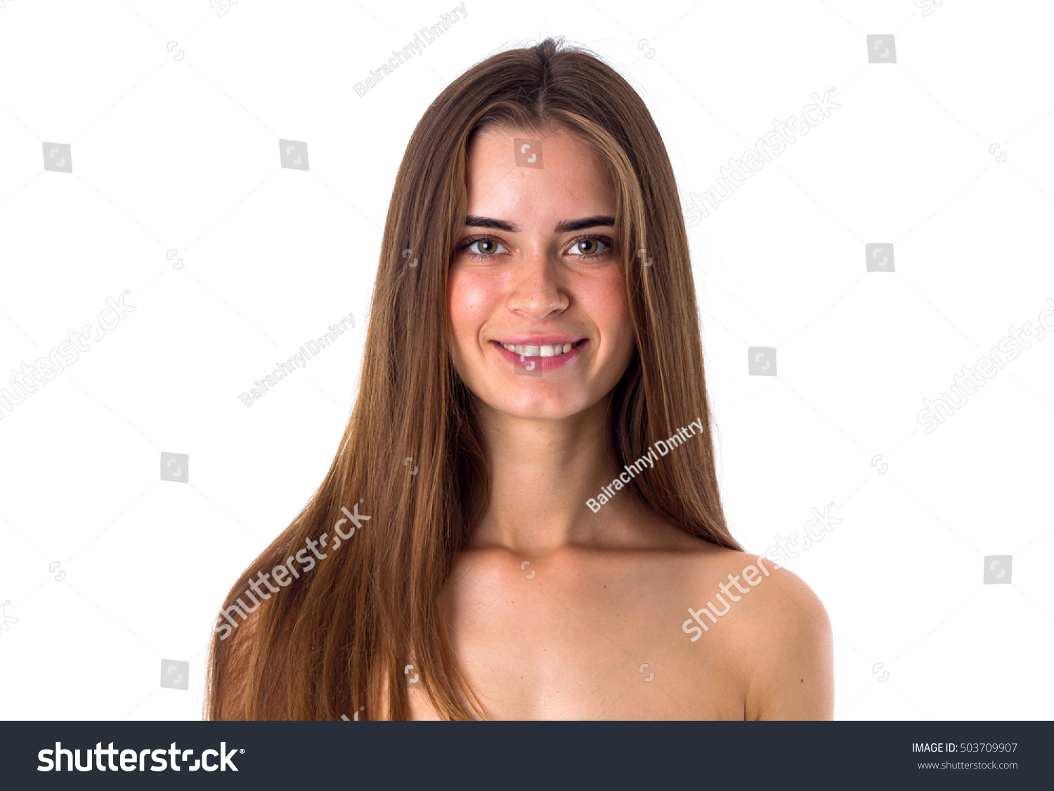 naked woman long hair smiling stock photo (100% legal protection