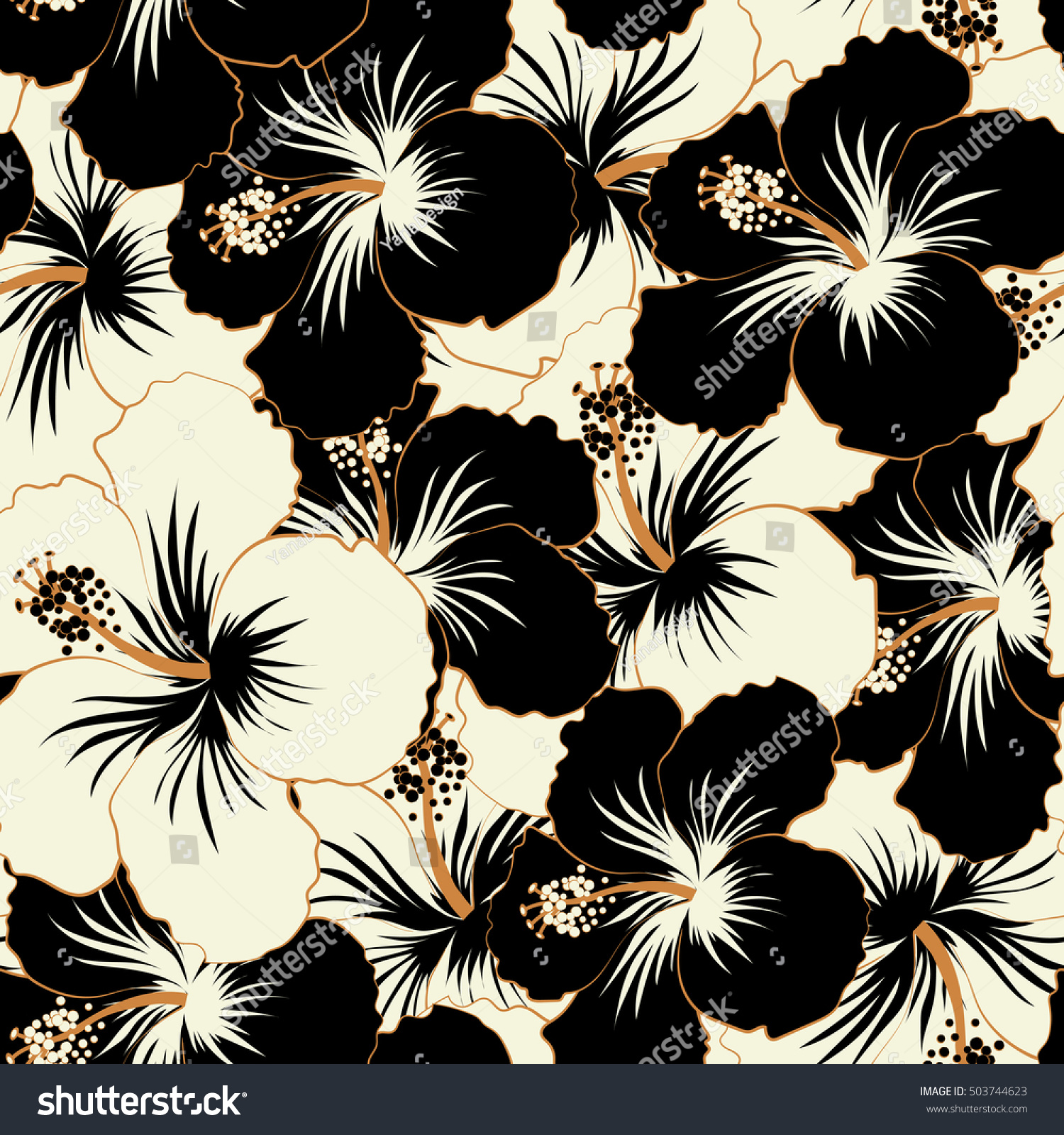 Hibiscus Flowers Buds Retro Seamless Pattern Stock Illustration