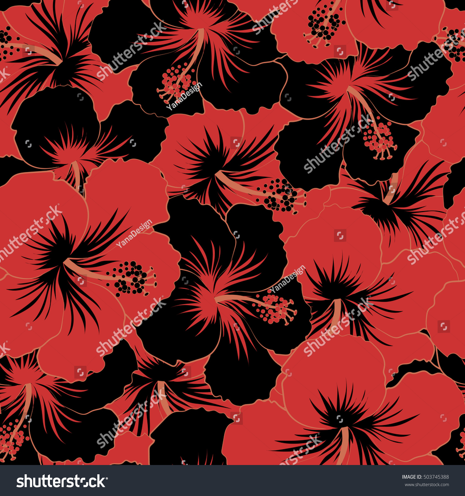 Black red hibiscus flowers trendy style stock illustration 503745388 black and red hibiscus flowers in a trendy style hawaiian tropical natural floral seamless pattern izmirmasajfo