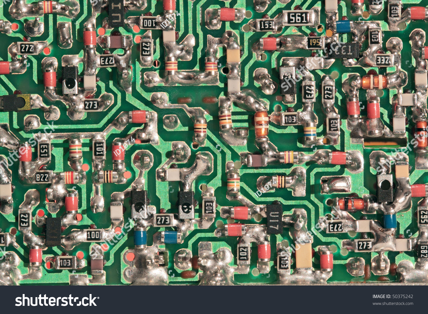 Green Printedcircuit Board Small Radio Components Stock Photo Edit Circuit The Printed And On It