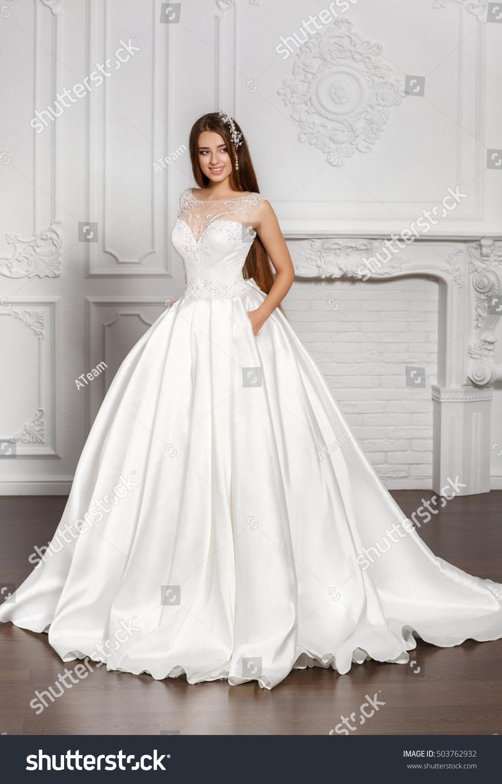 Fashion Bride Gorgeous Wedding Dress Studio Stock Photo (100% Legal ...