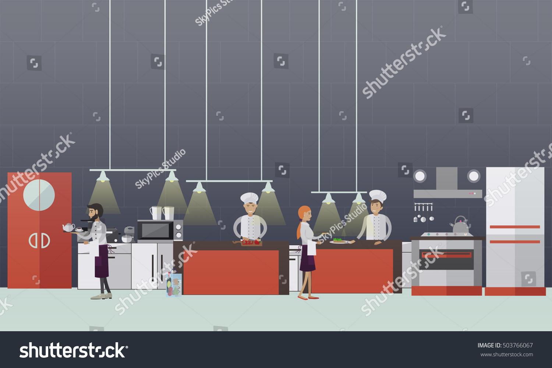 vector banner restaurant interiors chefs cooking stock vector