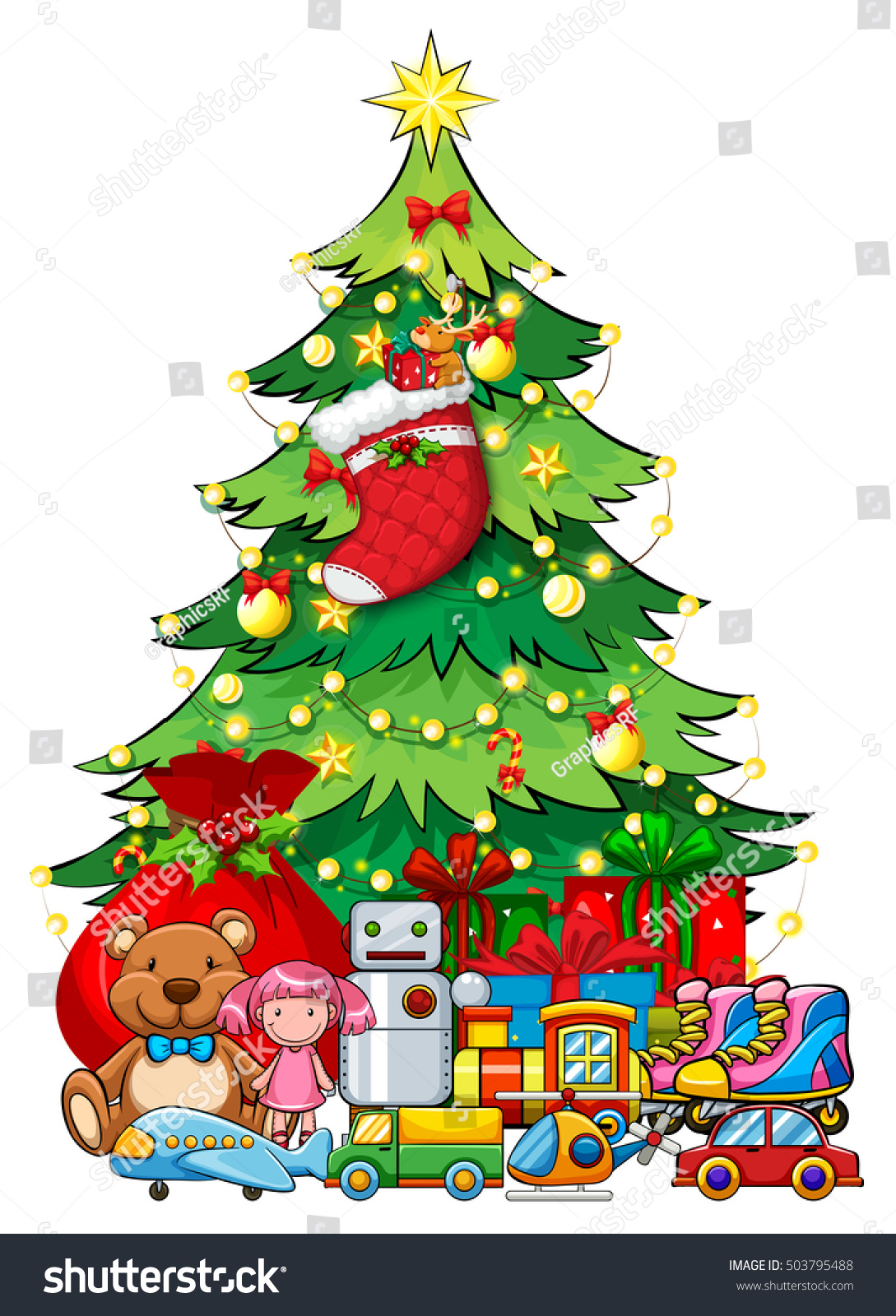 Christmas Tree With Toys : Many toys under christmas tree illustration stock vector