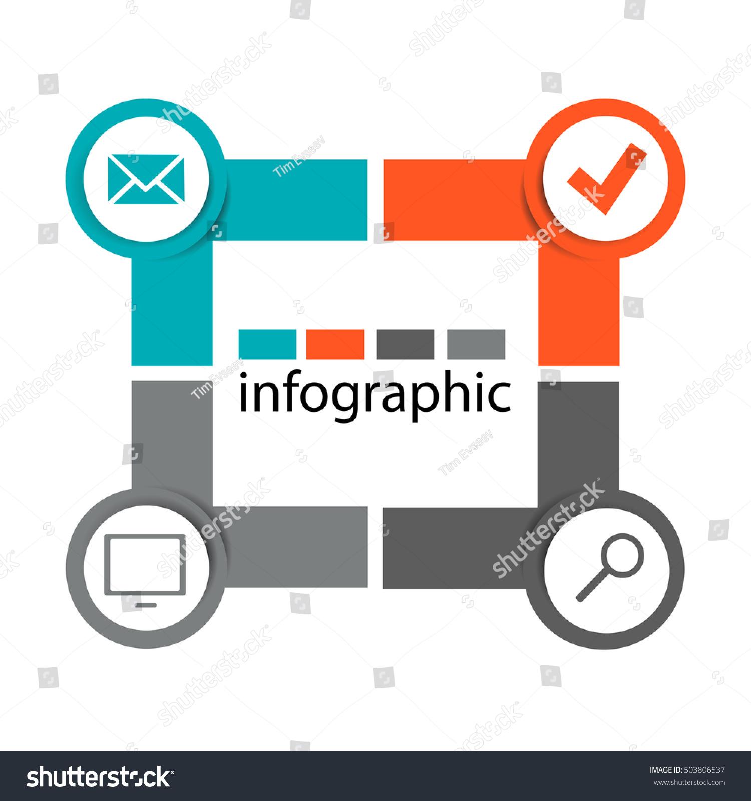 Infographics Rectangle Circles Step 4 Presentations Stock
