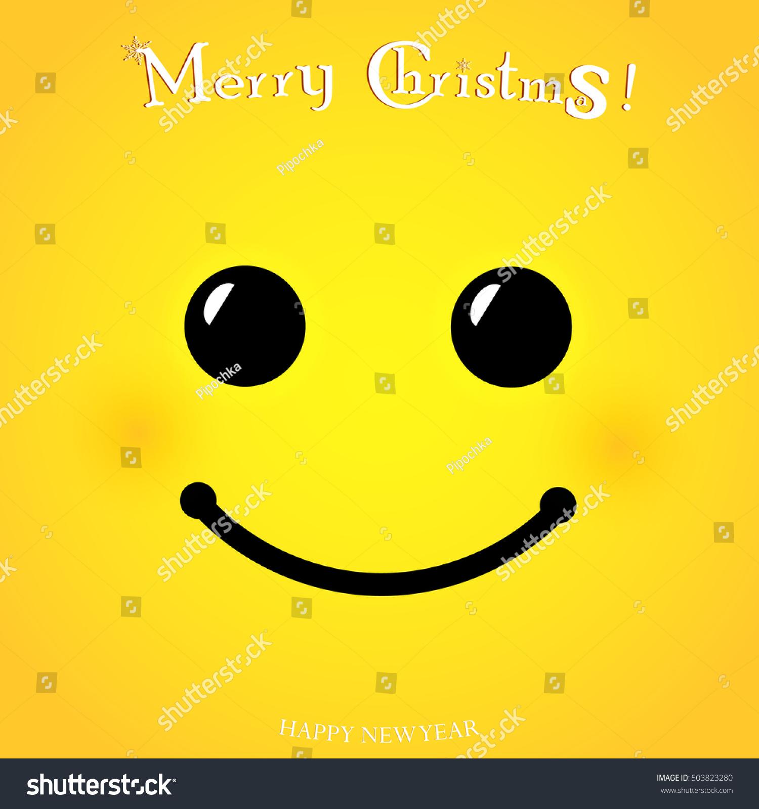 Christmas Yellow Smiley Face Poster Merry Stock Vector