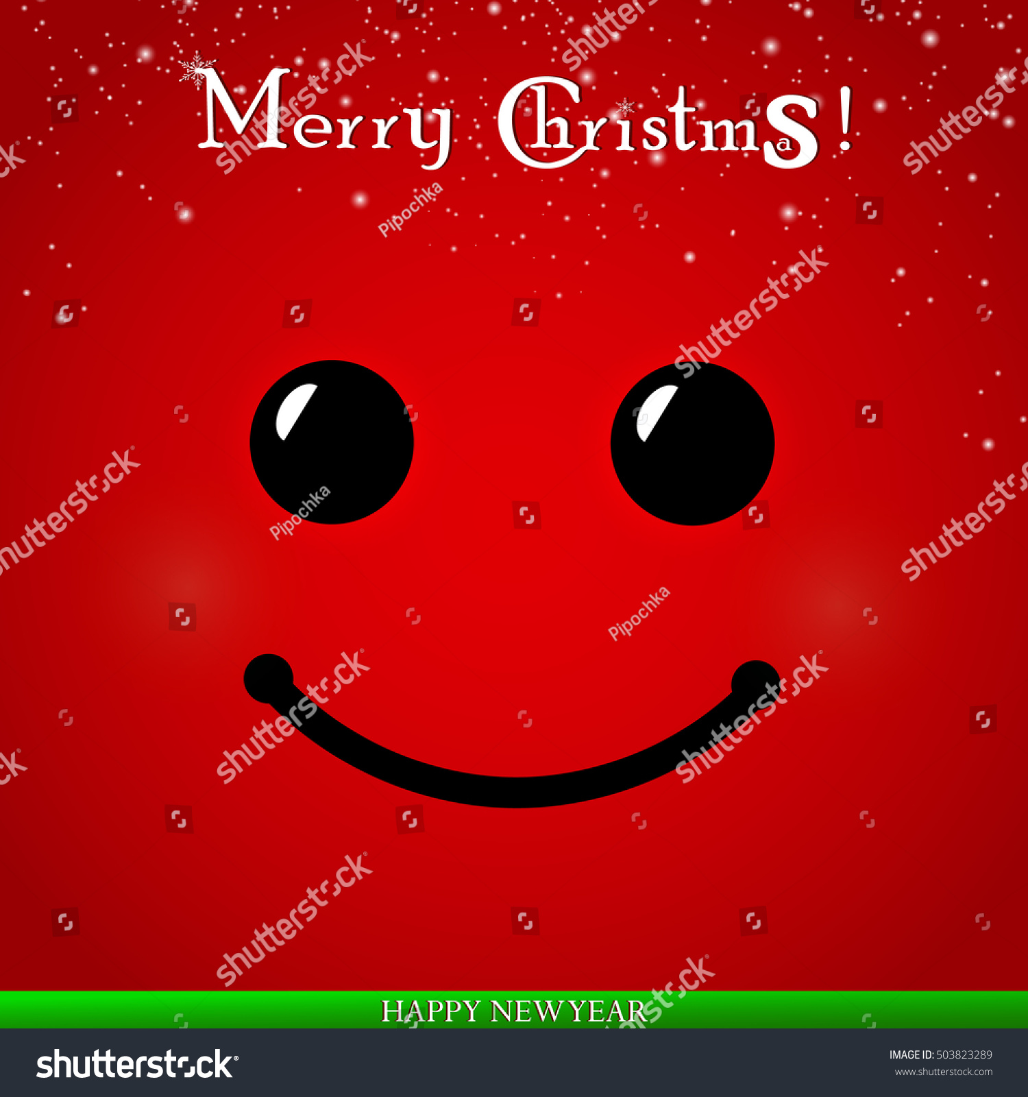 Smiley Face. Merry Christmas. Happy New Year. Red Smile
