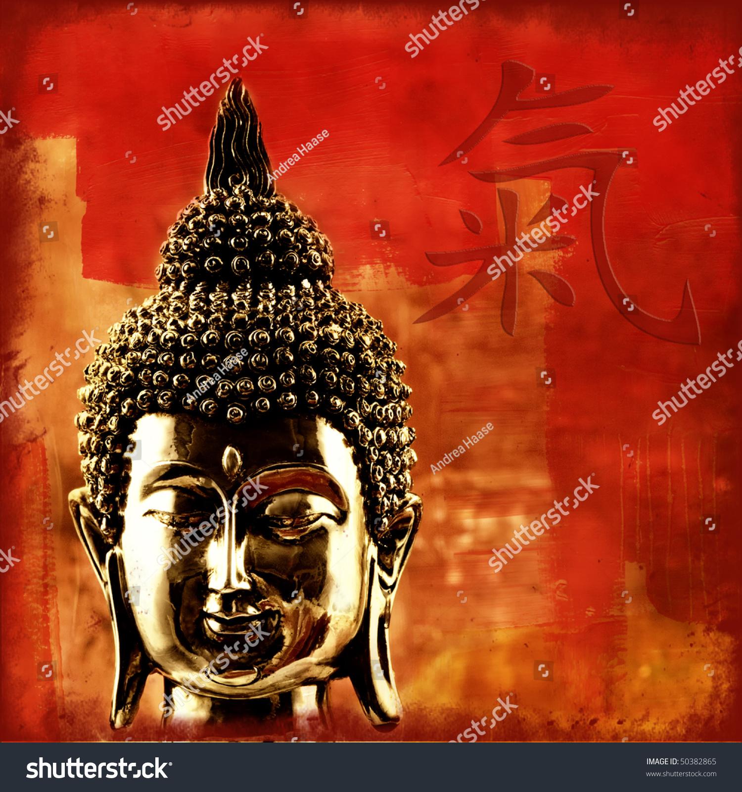 Buddha head chinese symbol chi stock photo 50382865 shutterstock buddha head with chinese symbol for chi biocorpaavc Gallery