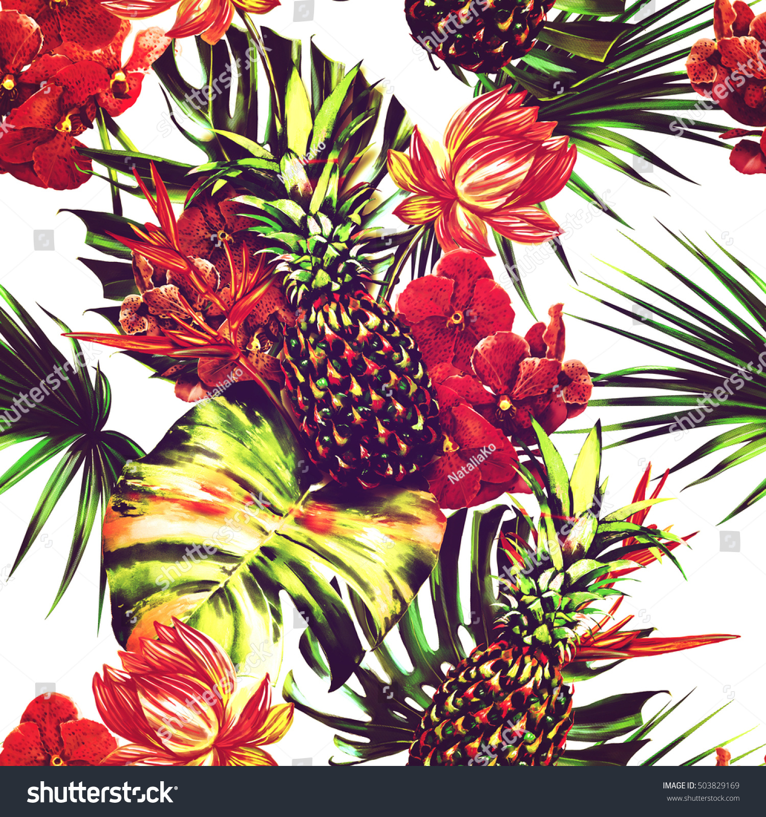 Watercolor Tropical Flowers Palm Leaves Pineapples Stock ...