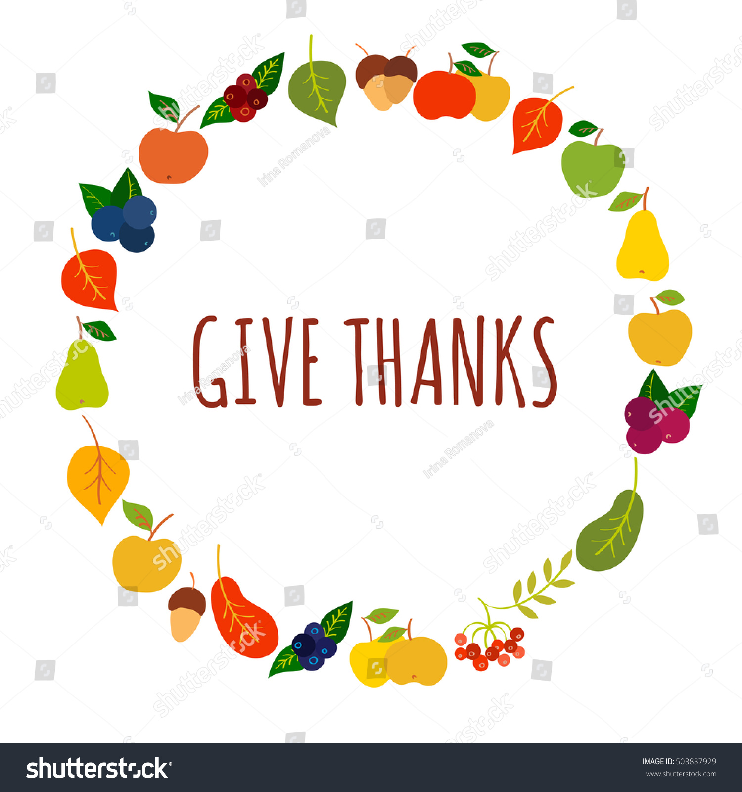 Give Thanks Vector Card Template Stock Vector 503837929 Shutterstock