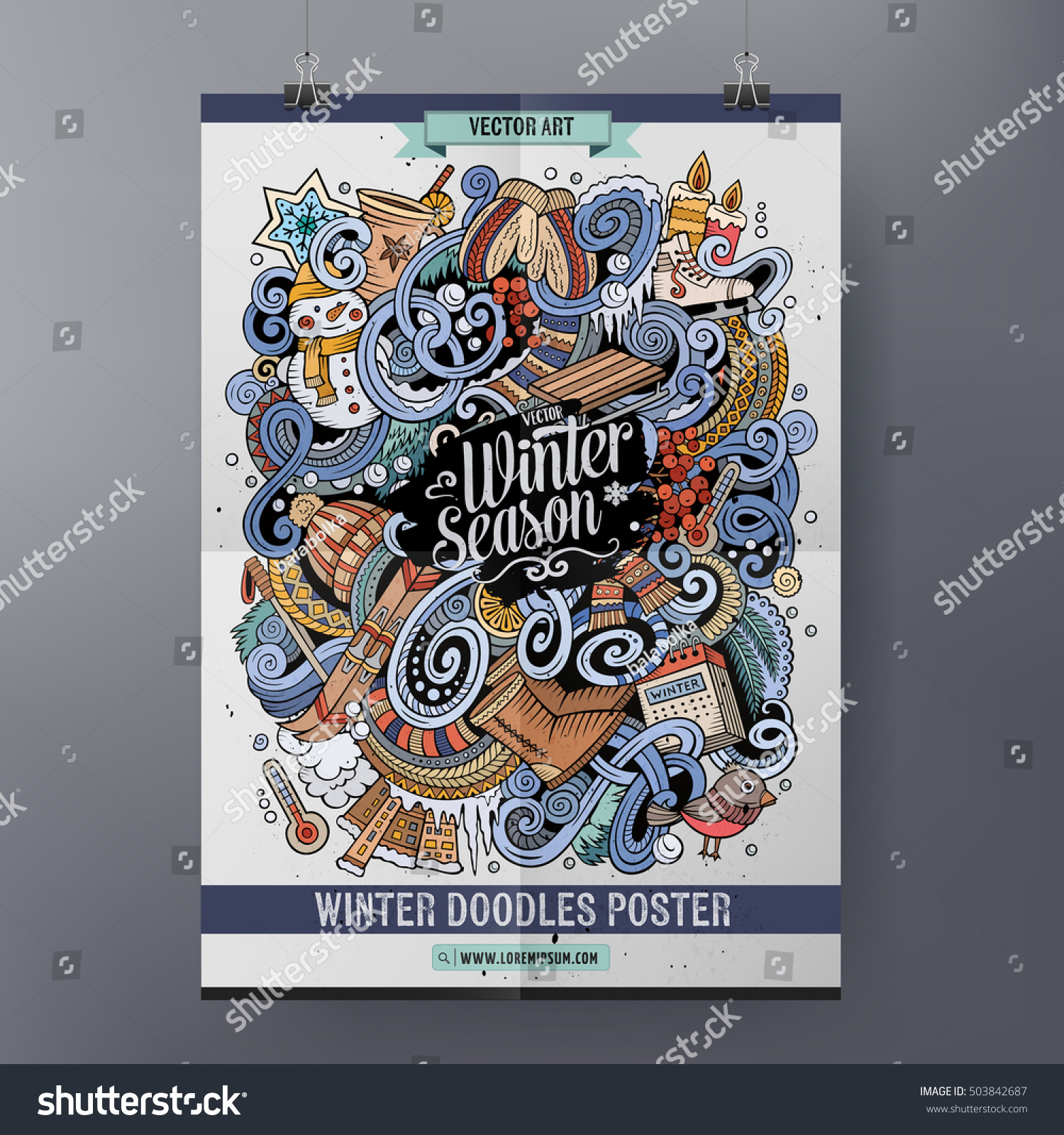 Cartoon colorful hand drawn doodles winter season poster template Very detailed with lots of objects illustration Funny vector artwork Corporate identity design