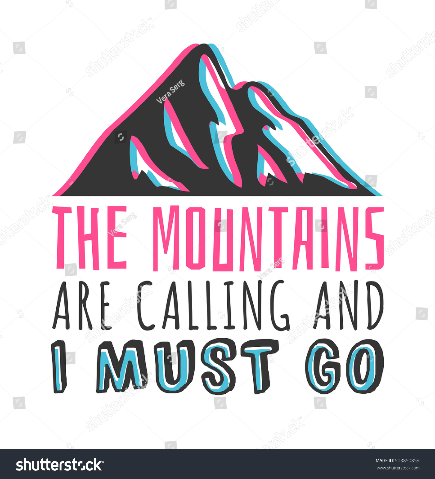 Hand drawn mountains logo ski resort stock vector for The mountains are calling and i must go metal sign