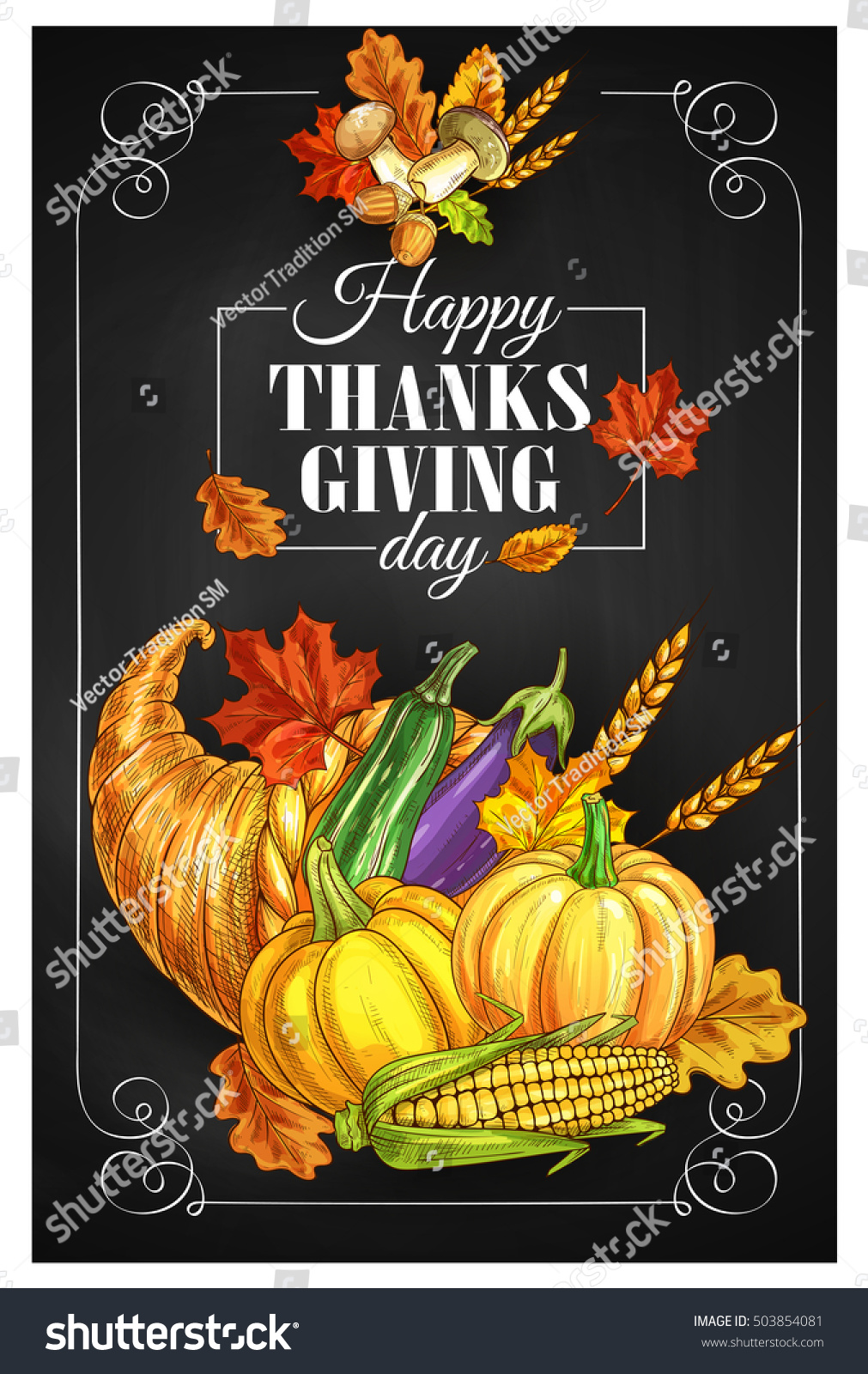 Thanksgiving day greeting banner posters traditional stock vector thanksgiving day greeting banner or posters traditional design of food abundance thanksgiving cornucopia with m4hsunfo
