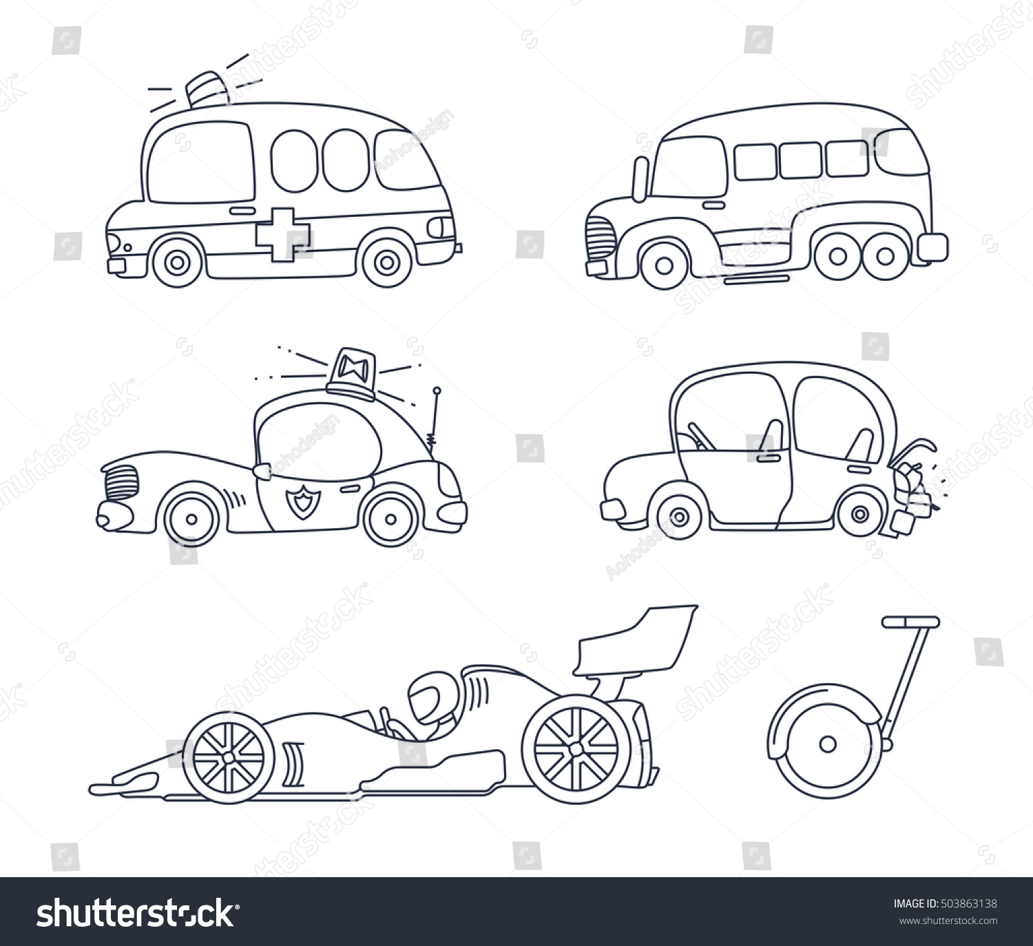 Set Cute Car Coloring Page Illustration Stock Vector
