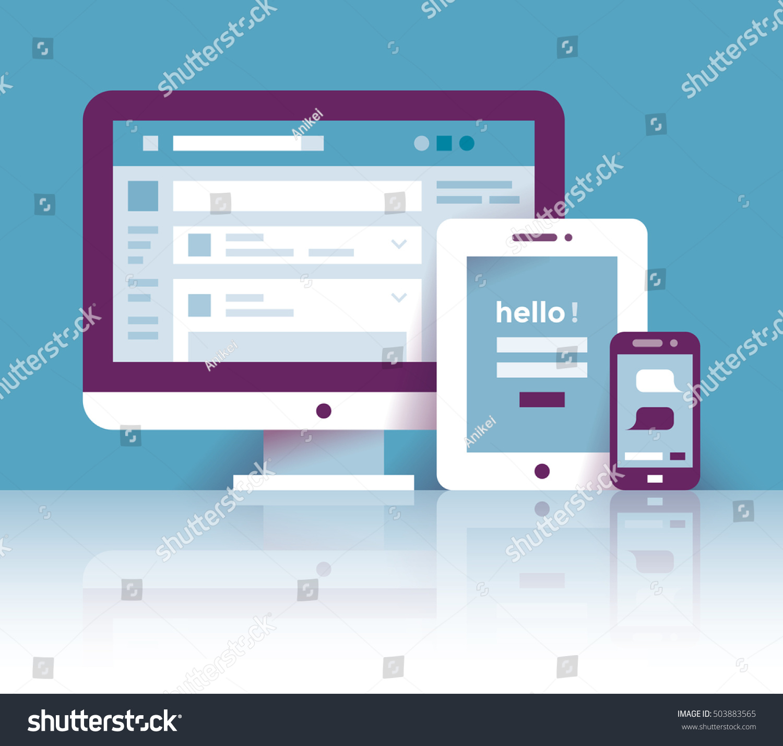 Computer Tablet Mobile Phone Social Network Stock Vector ... Computer Network Login