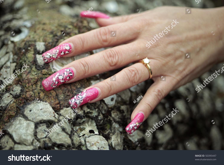 Mature Woman Hand Long Painted Nails Stock Photo & Image (Royalty ...