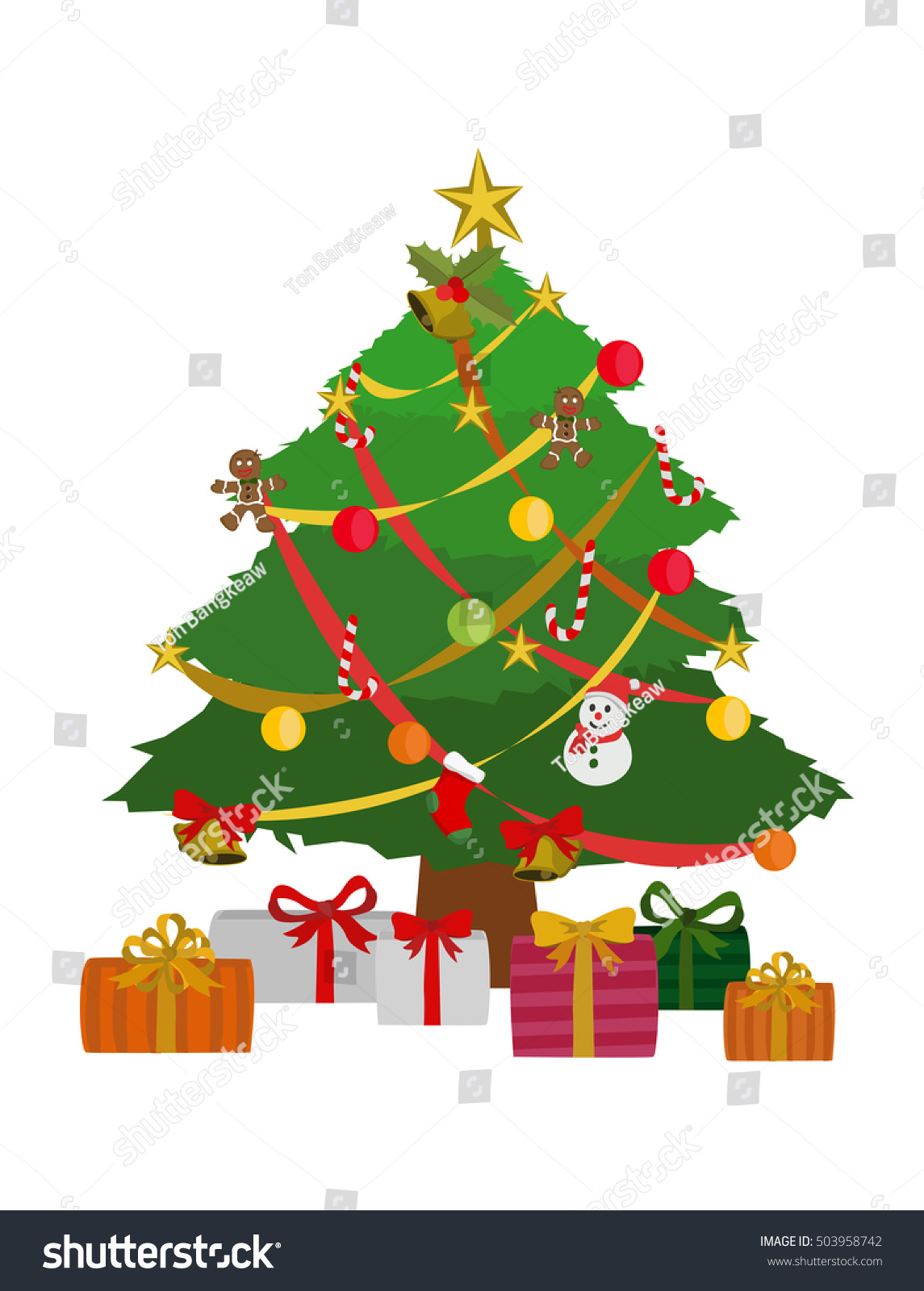 vector illustration cartoon christmas tree gift stock vector