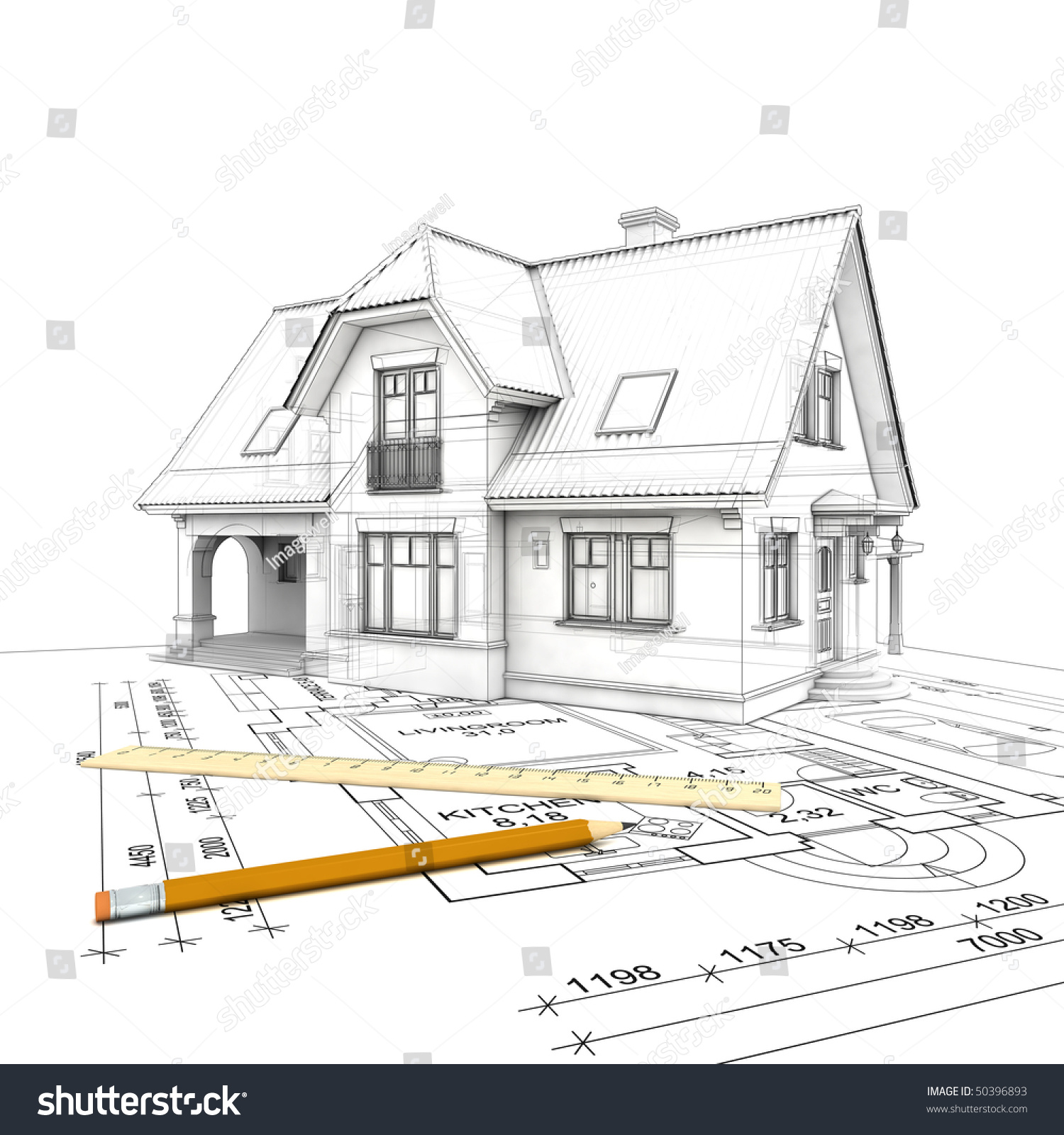 a stylized house model with floor plan  ruler and pencil  isolated on white  background. Stylized House Model Floor Plan Ruler Stock Illustration 50396893