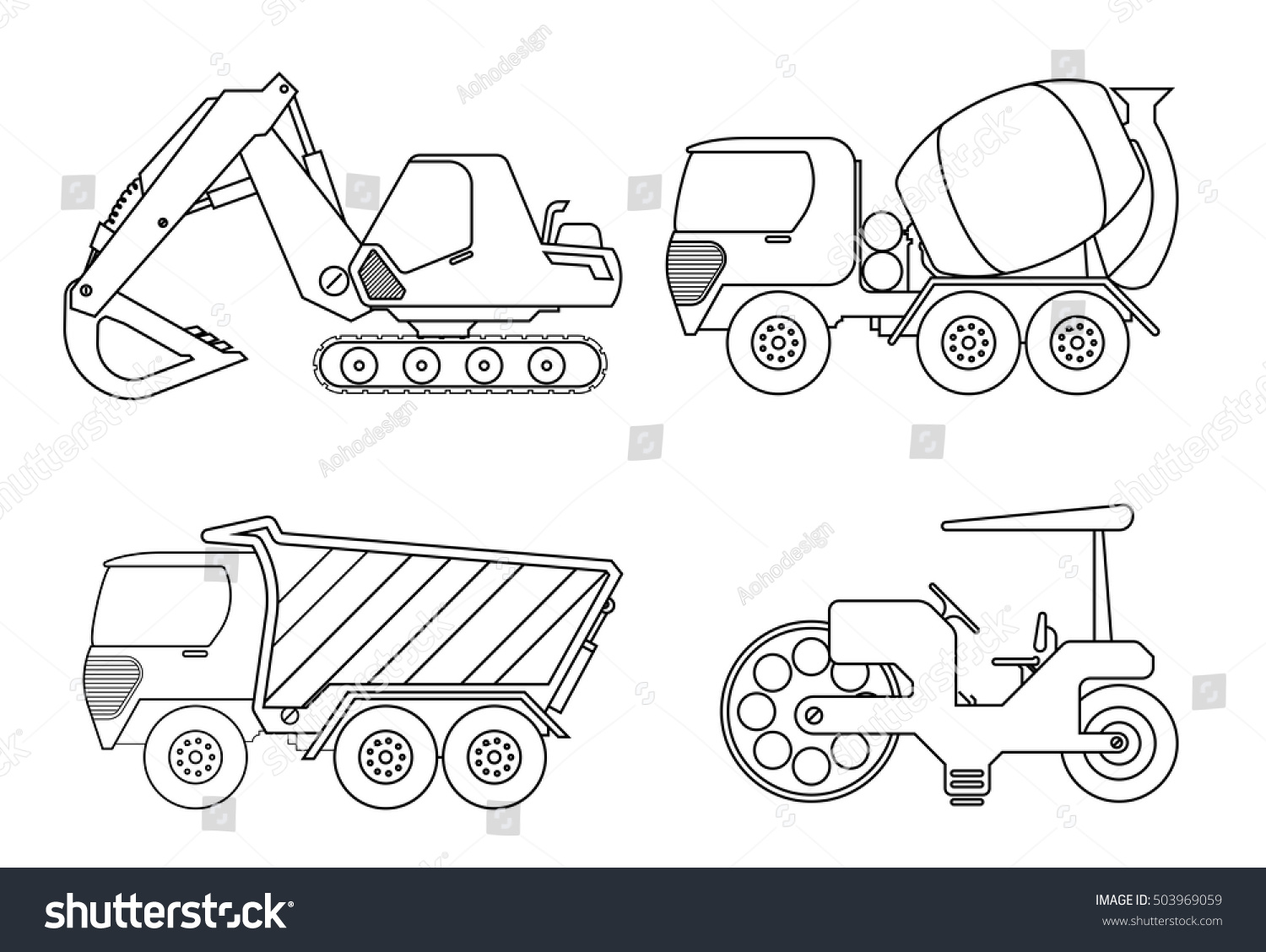 Truck Coloring Book For Kids Vector Illustration Of Crane Car Cement Truckrollor