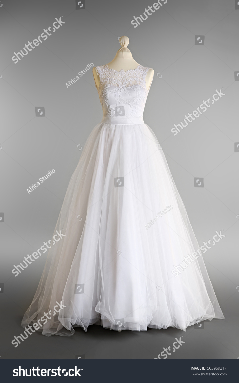 Madeup Wedding Dress On Mannequin Against Stock Photo (100% Legal ...