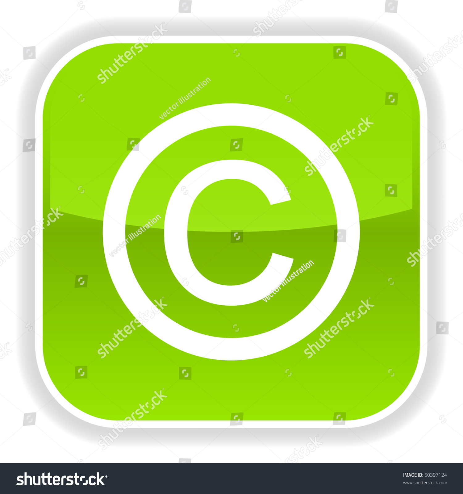 Green Glossy Button With Copyright Symbol On White Ez Canvas