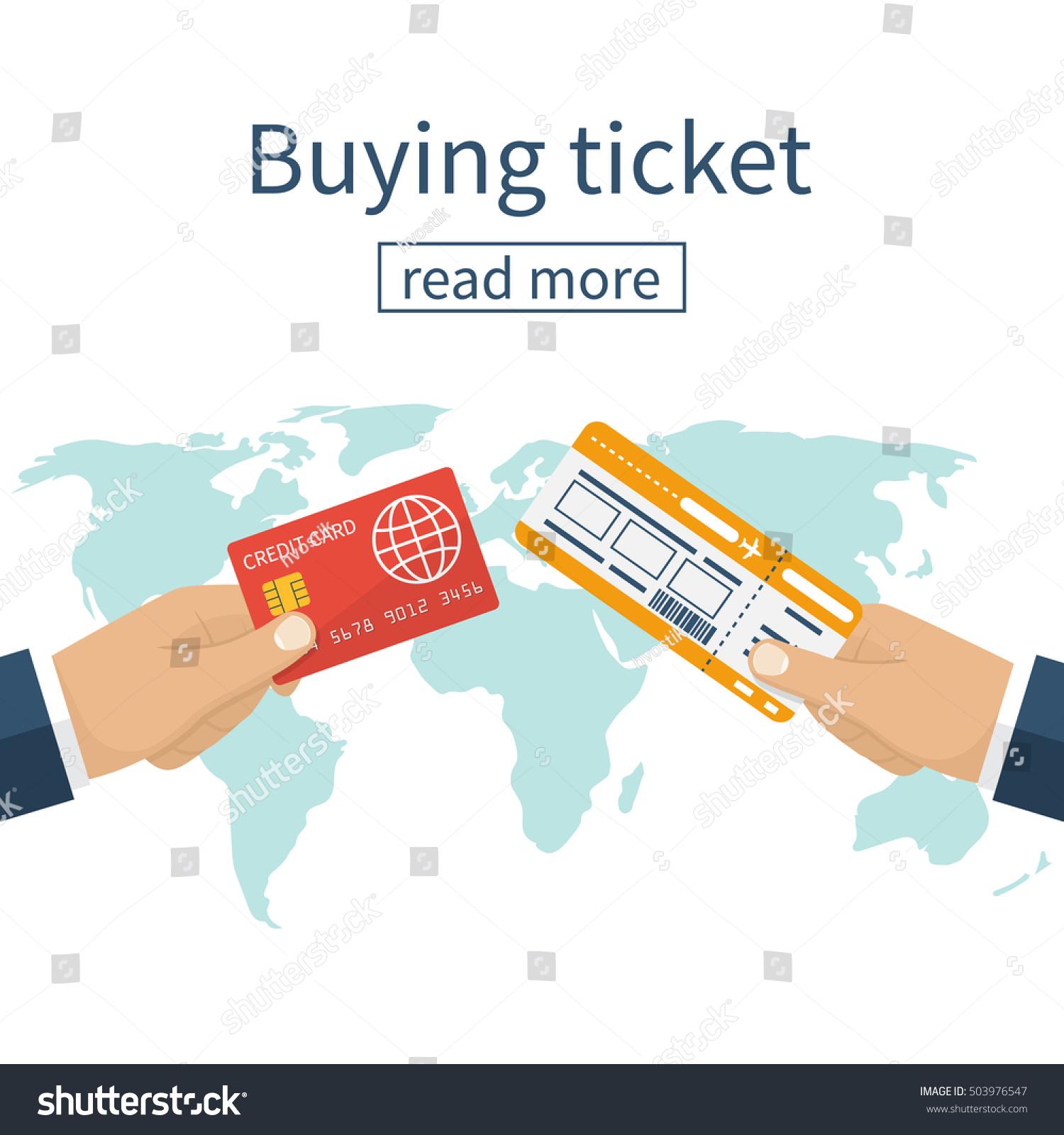 Buy Travel Tickets Online: Buy Airline Ticket Hand Credit Card Stock Vector 503976547
