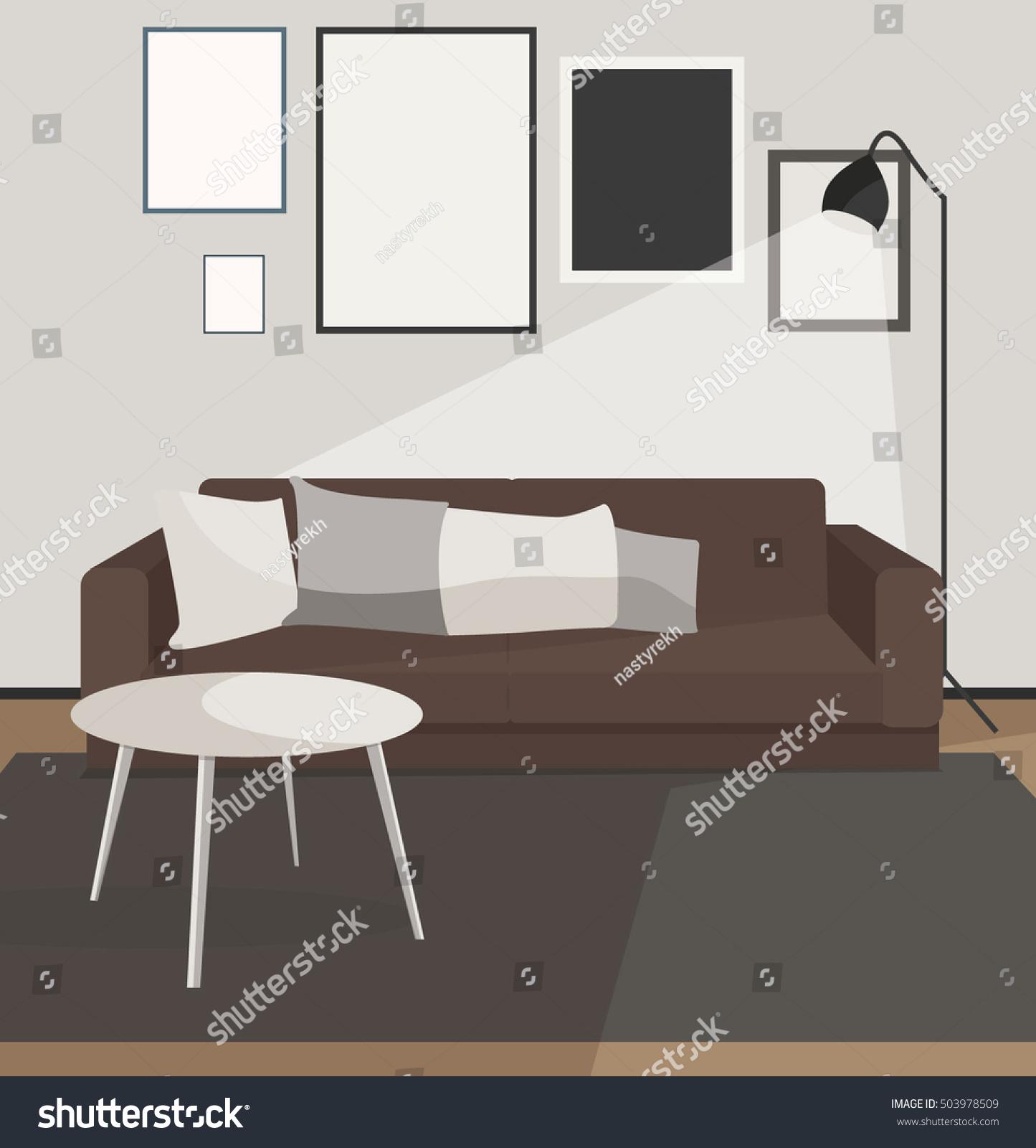 Living Room Apartment Design Concept Modern Stock Vector