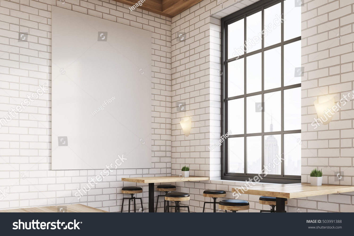 Corner Bar Window Stools Square Tables Stock Illustration