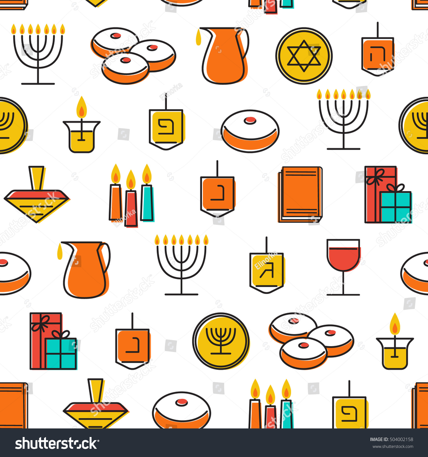 Uncategorized Chanukah Symbols hanukkah seamless pattern symbols stock vector candles menorah and donuts illustration