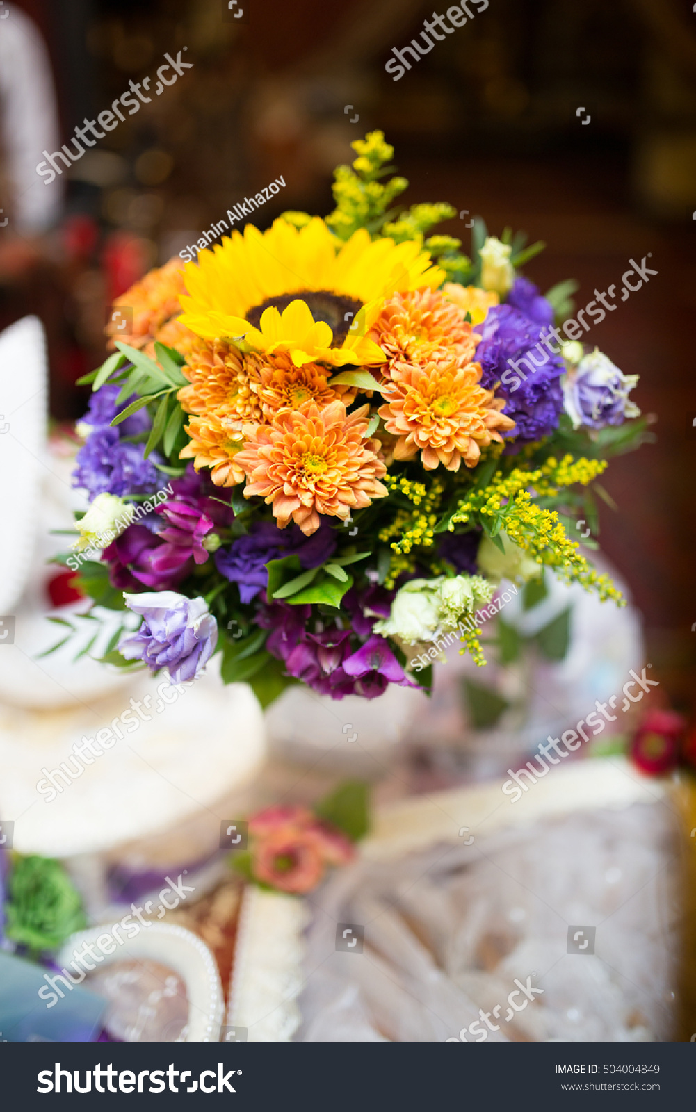 Bouquet Yellow Purple Flowers Florist Hands Stock Photo Edit Now