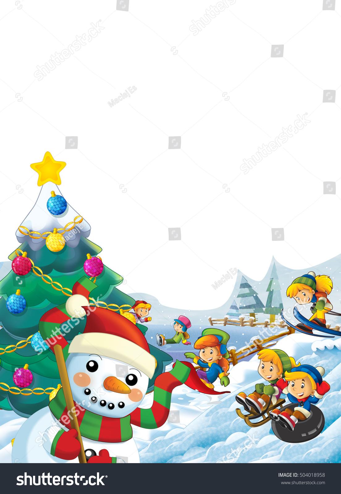 happy cartoon christmas scene happy kids stock illustration