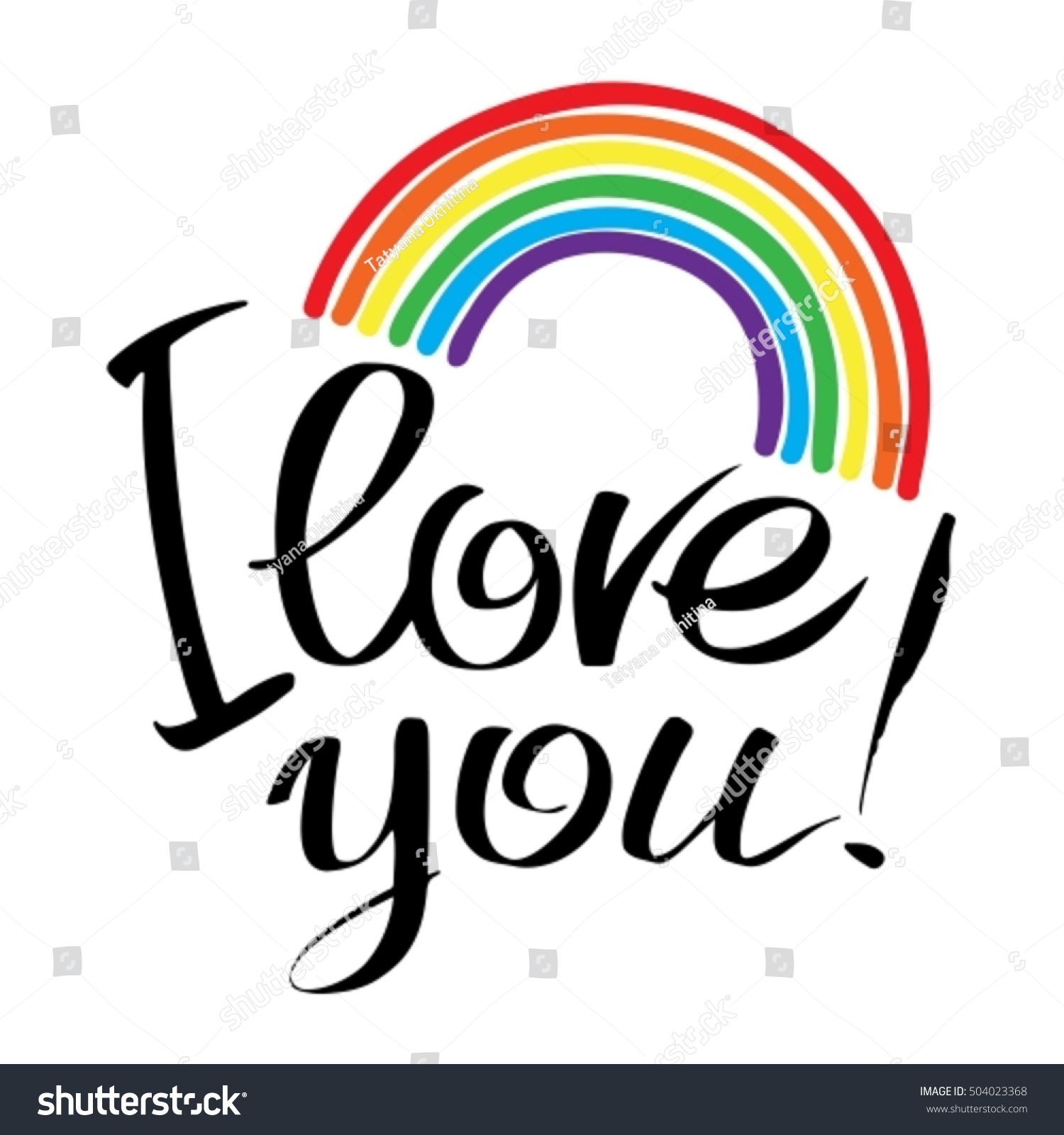 Love You Letters Rainbow Isolated Stock Vector