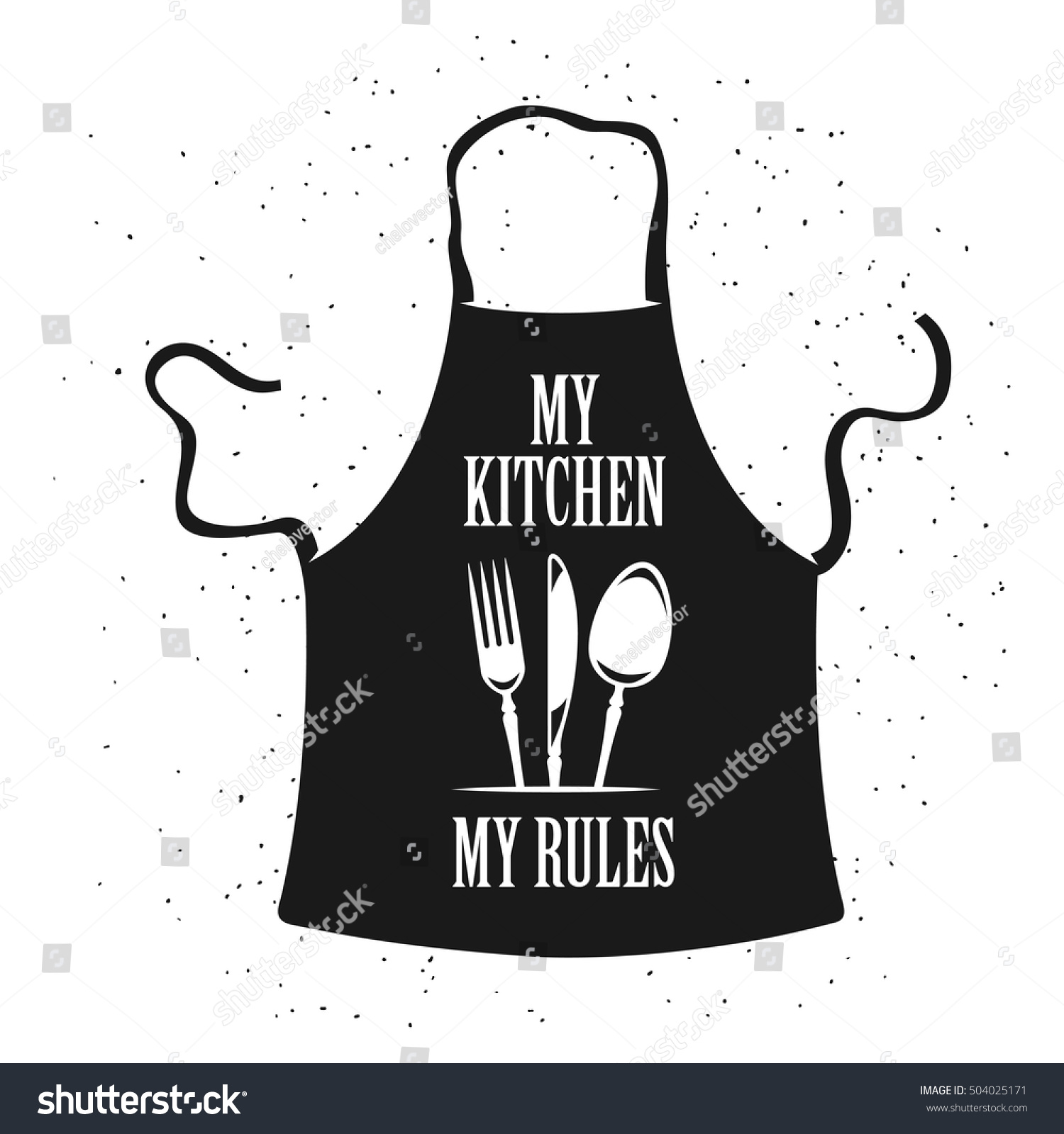 My kitchen my rules cooking related poster apron with for Kitchen design vector