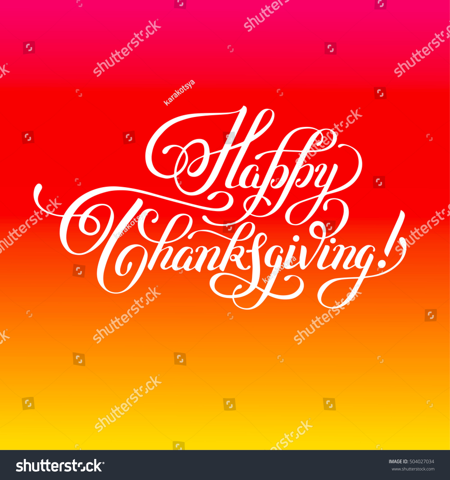 Happy Thanksgiving Handwritten Lettering Inscription For Greeting