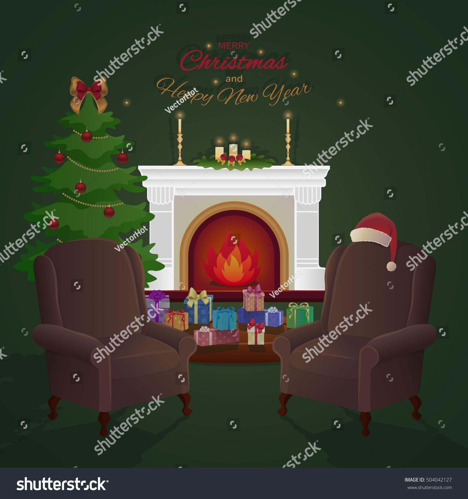 Merry Christmas Home Interior Fireplace Christmas Stock Vector