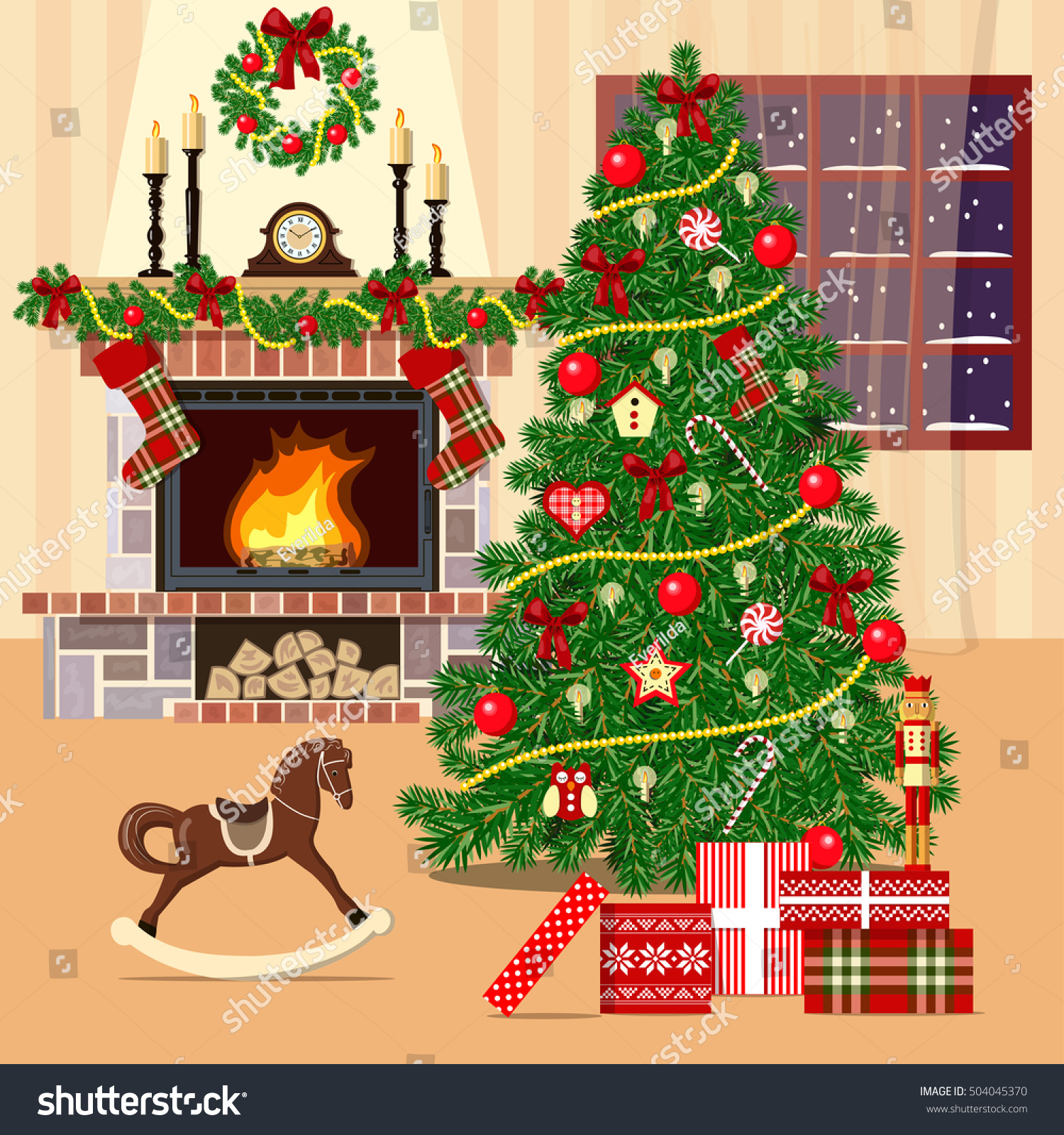 christmas decorated room xmas tree fireplace stock vector