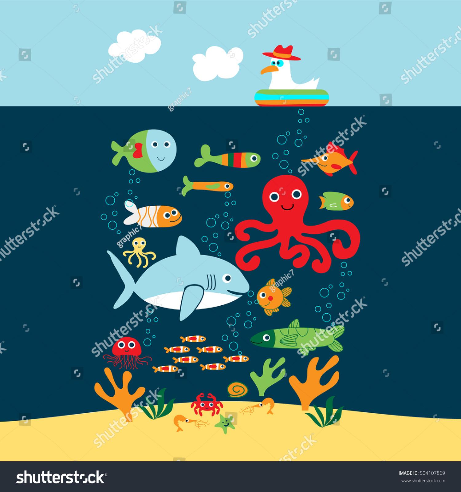 marine life creaturesvector underwater animals stock vector