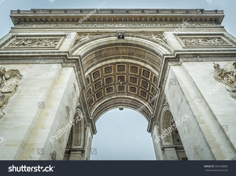 arc de triomphe arch triumph paris stock photo 504108802
