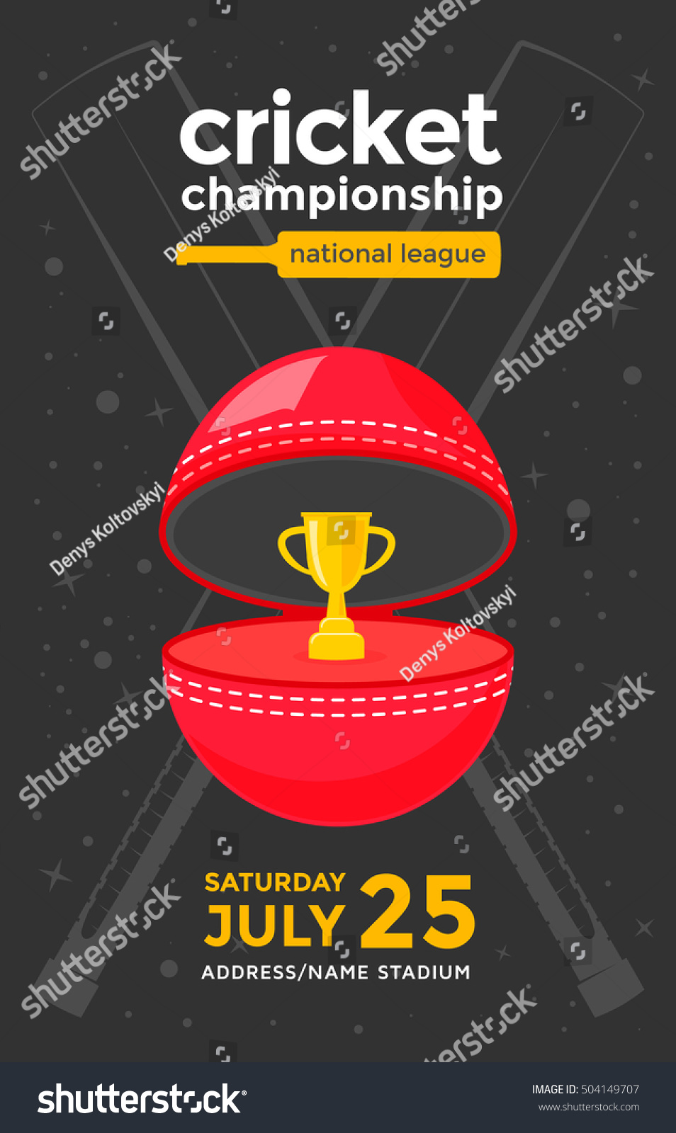 Poster design vector - Cricket Championship Sport Poster Design Vector Illustration